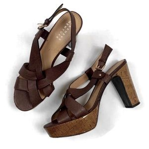 Barneys New York Cork Platform Heel   9.5